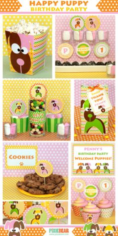 Girl Puppy Themed Party Printable Set - DIY Birthday Decorations by PixieBearParty on Etsy