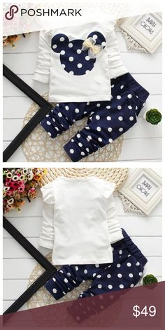 Baby Girls Navy Minnie Mouse Matching Set Brand new matching top and bottom! Matching Sets #stellasaksa