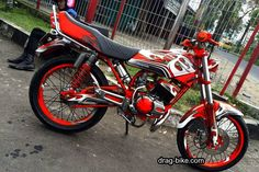 Motor Rx King Full Modif Cat Merah Yamaha Motorcycles, Cars And Motorcycles, Drag Bike, Airbrush, King, Vespa, Wolf, Humor, Crafts
