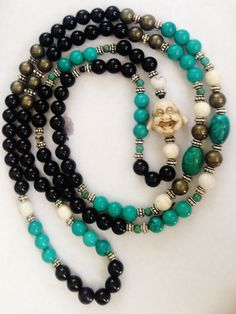 108 Full Mala, Buddhist Rosary, Tibet, Nepal, India, Prayer Beads, Prayer Mala - Onyx - Grief, Stress -Turquoise, Howlite, Pyrite by kaysoothingbeads on Etsy