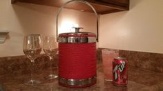 Vintage Red Silver Faux  Alligator Skin Ice by sistersvintageattic