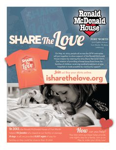 Help us Share the Love. Support a family's stay at the RMHFW by purchasing the 2014 STL shirt. It's the perfect color for spring! www.isharethelove.org Home T Shirts, Share The Love, Love Home, Home And Away, Fort Worth, Ronald Mcdonald, Spring, Color, Colour