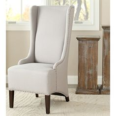 Safavieh Mercer Collection Stella Linen Side Chair with Trim Nail Head Beige ** You can find out more details at the link of the image.Note:It is affiliate link to Amazon.