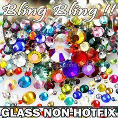 Nail Art Cystals Mezclar Tamaños Y Colores de Cristal No Caliente del Arreglo Posterior Plana diamantes de imitación SS3 SS4 SS5 SS6 SS8 SS10 SS12 SS16 SS20 SS30 Glitters