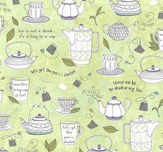 Tea-rrific - Tea Talk - Willow Green. Fabric from eQuilter.com