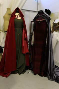 Medieval gowns with velvet cloaks