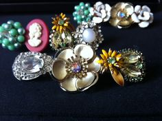 an original DIY :) found some vintage costume jewelry earrings and pins and made them into hair barrettes