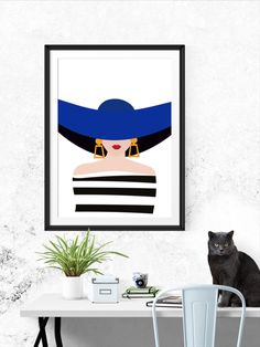 This amazingly elegant and sharp looking minimal illustration of a woman is perfect when framed. All Illustrations were made by us, LadiesMinimal from scratch, without using any premade elements. Woman Illustration, Illustrations Posters, Modern Art, Minimalism, Stripes, Elegant, Trending Outfits, Handmade Gifts, Blue