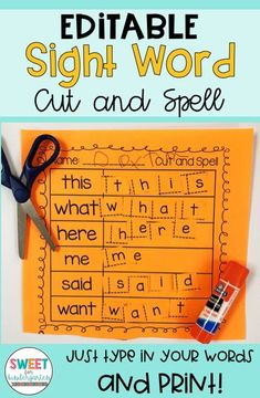 Perfect for a last minute center! for Kindergarten or 1st Grade Use with any sight word list, just type in your sight words and print!