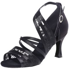 LOSLANDIFEN Women's Open Toe Ankle Strap High Heels Dance Shoes Breathable Salsa Tango Latin Sandals * Read more  at the image link.