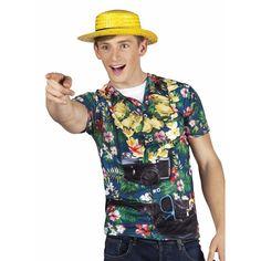 Hawaii shirt met realistische fotoprint met bloemen, fototoestel en buiktasje. Ga verkleed als toerist met dit grappige shirt! Bedrukt aan de voor- en achterzijde. Geschikt voor volwassenen. Materiaal: 100% polyester.