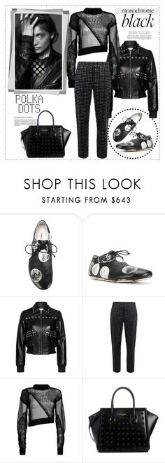 """""""Mission Monochrome: All-Black Outfit in Polka Dots"""" by vittorio-1 ❤ liked on Polyvore featuring Marsèll, RED Valentino, Moschino, Helmut Lang and Balmain"""