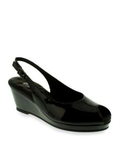 Walking Cradles Black Patent Natasha Peeptoe Slingback Wedge Patent Black - Available in Extended Sizes - Online Only