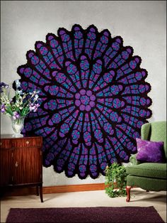 "Okay, is this amazing or what? Can't believe it's crochet!! Pattern available for a wee fee over at Annie's Craft Store. ""The Cathedral Rose Window crochet afghan pattern will enliven any home. We..."