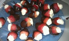 Cheesecake stuffed drunken strawberries dipped in dark chocolate