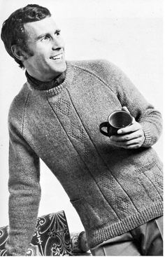 mens sweater knitting pattern pdf mens DK jumper with pockets diamond pattern Vintage 70s 36-42 inch DK light worsted 8ply Instant download by coutureknitcrochet on Etsy