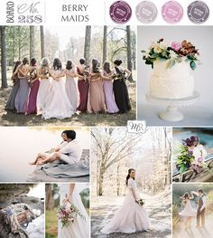 Wedding berry colors..  I love.love these colors for late summer or early fall.  The colors of all the bridesmaid dresses are perfectly amazing together!
