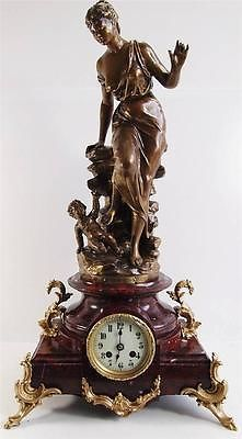 Antique clock -Huge 19thc French Japy Freres figural & red marble table clock
