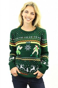 Street Fighter Guile vs Cammy Ugly Christmas Sweater