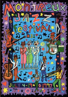 "Limited Edition Print ""Montreux Jazz Festival by James Rizzi Jazz Poster, Blue Poster, Selling Art Online, Online Art, James Rizzi, Montreux Jazz Festival, Jazz Art, Jazz Blues, Festival Posters"
