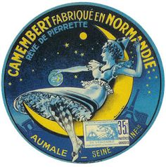 Sweet dreams of camembert in a beautiful blue cheese label with a crescent moon as the world falls asleep.