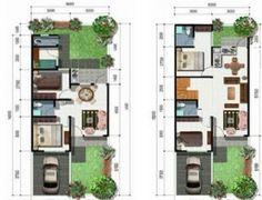 gambar contoh denah rumah minimalis 2 lantai modern 1