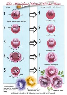 SIMPLY CRAFTS: The Miniature Classic Stroke Rose - Painting Worksheet - click to enlarge