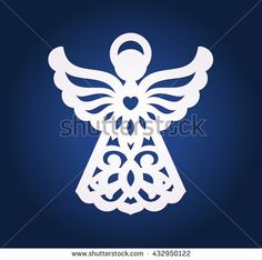 Laser cut paper christmas angel decoration vector design. Merry Christmas Angels Greeting Card. X-mas angel for wood carving, paper cutting and christmas decorations. Paper cut angel.