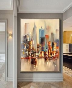 Large Original Abstract City Painting, Urban Art Painting, City Skyline Painting,New York Skyline,Ne Skyline Painting, Cityscape Art, City Painting, Oil Painting Abstract, Abstract Canvas, Oil Paintings, Painting Canvas, Wall Canvas, Art Mural