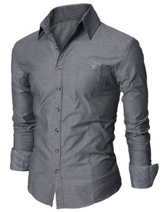Amazon.com: Doublju Mens Dress Shirt with Contrast Neck Band: Clothing