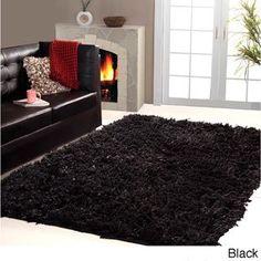 affinity home collection cozy shag area rug 4u0027 x 6u0027 black