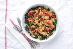 Farro Salad with Blood Orange, Kumquat and Kale