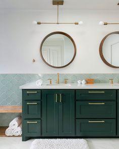 serving up some serious spa-at-home vibes 🌿 - Tile shown: Salton Sea Ogee - 📷: - Wainscott Walls, Home Design, Grey Bathroom Tiles, Bathroom Ideas, Bath Ideas, Hall Bathroom, Bathroom Designs, Master Bathroom, Blue Green Bathrooms