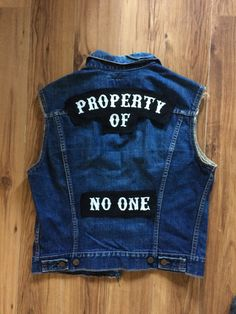 Feminist motorcycle vest. Motorcycle club cut. Patches. Rocker set. Property of no one. Chain stitch patch. Custom embroidery