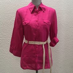 Fuchsia linen blend, button up blouse Dis his colored linen blend blouse. Size M 10-12. The belt pictured is not included, but top has belt loop holes for you to pair it with anything you like. Fabulous condition. Waist 22 inches; Bust 21 inches; Shoulder to shoulder (back) 17 inches. Nygard Tops Button Down Shirts