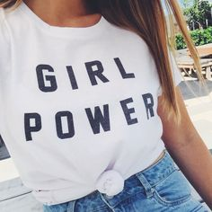 Girl power! Graphic tees are trending and this black and white t shirt is our favourite. Pair it with some blue denim jeans or shorts for the perfect casual look    Cotton On    2017    Autumn Fashion   