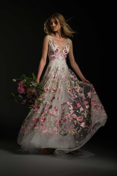 """Bibi"" V-Neck Tulle A-Line Dress with Colorful Floral Detailing 