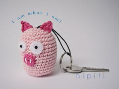Keychain pendant crochet PIG - Valentines Day gift - New Home gift - Party favor