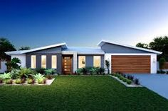 Wide Bay 209 , Our Designs, Tweed Heads Builder, GJ Gardner Homes Tweed Heads Modern House Facades, Modern House Plans, Modern House Design, Roof Architecture, Modern Architecture House, Modern Exterior, Exterior Design, Style At Home, Australian House Plans