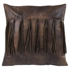 Loon Peak Oblong tool leather pillow with brown leather trim and conchos Leather Throw Pillows, Chevron Throw Pillows, Leather Pillow, Faux Fur Throw, Throw Pillow Sets, Outdoor Throw Pillows, Decorative Throw Pillows, Leather Tooling, Western Decor