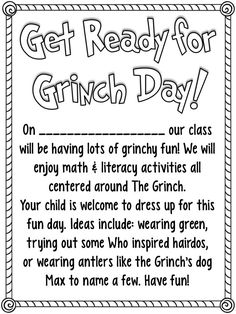 FREEBIE! Cute note to send home about Grinch Day