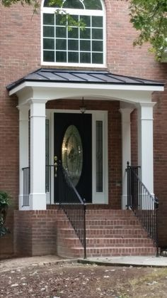 Portico with flat roof google search front porch ideas for Front door roof designs