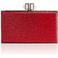 Judith Leiber Couture Coffered Rectangle Box Clutch Bag (31.290 ARS) ❤ liked on Polyvore featuring bags, handbags, clutches, siam, judith leiber clutches, clasp purse, red clutches, crystal box clutch and judith leiber