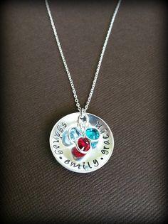 Handstamped Mother's Triple Birthstone Necklace Sterling Silver. $38.00, via Etsy.