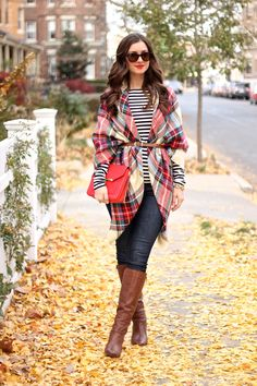 Thanksgiving Outfit: Plaid Blanket Scarf, Stripes, Cognac Tall Booties by La Mariposa Blog