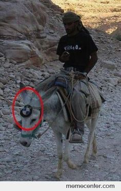 BMW Donkey. Ha Ha ... I think I will stick to the real thing! Of course mine would not travel that trail!!!