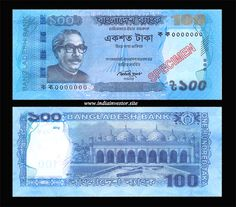 SPECIMEN BANK NOTES OF BANGLADESH SEE SCAN 1000,500,100,20 TAKA NOTES,UNC,