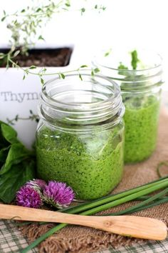 Lemon Thyme, Chive and Spinach Pesto