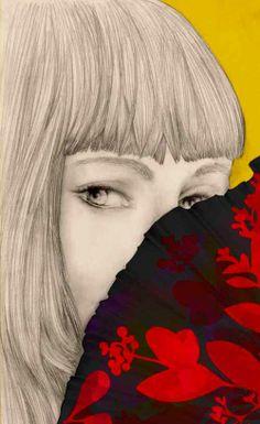Illustration mode portrait femme éventail Florence Gendre