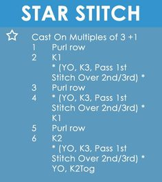 How to Knit the STAR Stitch   Easy Free Written Knit Stitch Pattern from Studio Knit